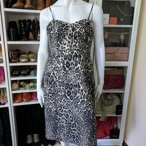 J.Crew Collection leopard jacquard boustier dress